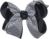 Medium White and Black Medium Overlay School Bow