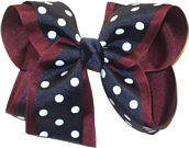 Large Burgundy White and Navy Large Overlay School Bow