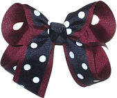 Medium Burgundy White and Navy Medium Overlay School Bow