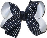 Medium White and Navy Medium Overlay School Bow