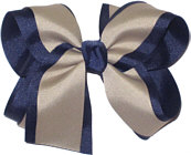 Large Navy and Khaki Large Overlay School Bow