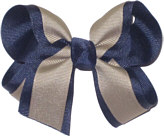 Medium Navy and Khaki Medium Overlay School Bow