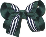 Medium Evergreen White and Navy Medium Overlay School Bow