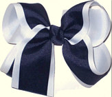 Large White and Navy Large Overlay School Bow