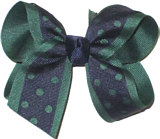 Medium Evergreen and Navy Medium Die Cut Ribbon Overlay School Bow