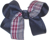 Medium Navy Plaid Bow