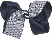 Large Navy Plaid Bow