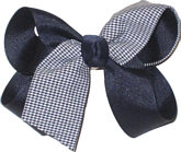 Medium Black Plaid Bow