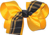 Large Yellow Gold Plaid Bow