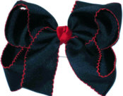 Large Red and Navy Large Moonstitch School Bow