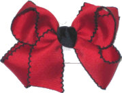 Medium Red and Navy Medium Moonstitch School Bow