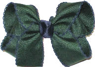 Medium Evergreen and Navy Medium Moonstitch School Bow