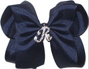 Large Navy with Rhinestone Initial Bow