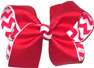 Large Red over Red and White Chevron Stripes Double Layer Overlay Bow
