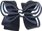 Large Navy over Navy and White Stripes Double Layer Overlay Bow