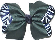 Large Forest Green over Navy and White Zebra Stripes Double Layer Overlay Bow