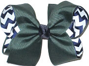 Large Forest Green over Navy and White Chevron Stripes Double Layer Overlay Bow