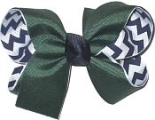 Medium Forest Green over Navy and White Chevron Stripes Double Layer Overlay Bow