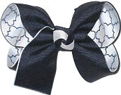 Medium Navy over White and Navy Quatrafoil Double Layer Overlay Bow