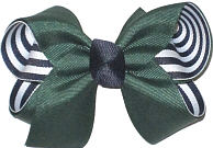 Medium Forest Green over Navy and White Stripes Double Layer Overlay Bow