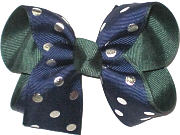 Medium Navy with Silver Dots over Forest Green Double Layer Overlay Bow