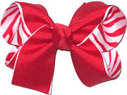 Medium Red over Red and White Zebra Stripes Double Layer Overlay Bow