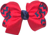 Medium Red over Red and Navy Chevron Stripes Double Layer Overlay Bow