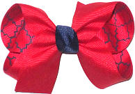 Medium Red over Red and Navy Quatrafoil Double Layer Overlay Bow