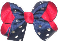 Medium Navy with Silver Dots over Red Double Layer Overlay Bow