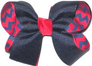 Medium Navy over Red and Century Blue Chevron Print Double Layer Overlay Bow