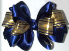 Six Loop Royal Blue Satin with Gold Metallic Ribbon